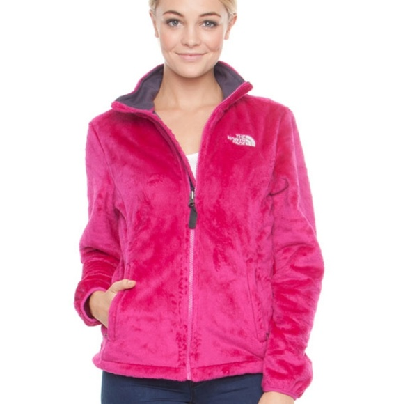 Hot pink fuzzy North Face Osito jacket
